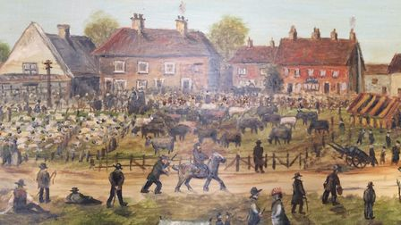 Painting of Aldborough fayre as a horse fair by A Knights in 1977. Pictures: David Bale.