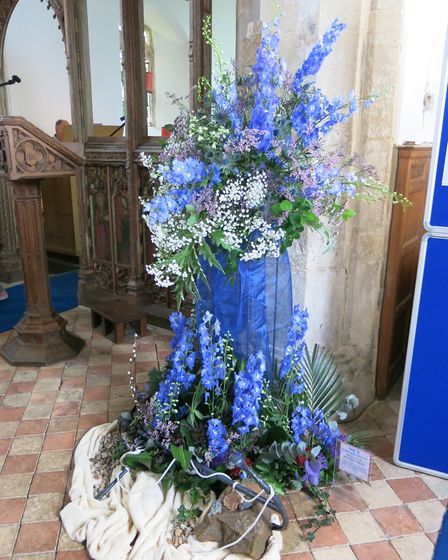 Will Your Anchor Hold by Judy Wilkinson, one of the exhibits at a flower festival at Beeston Regis c