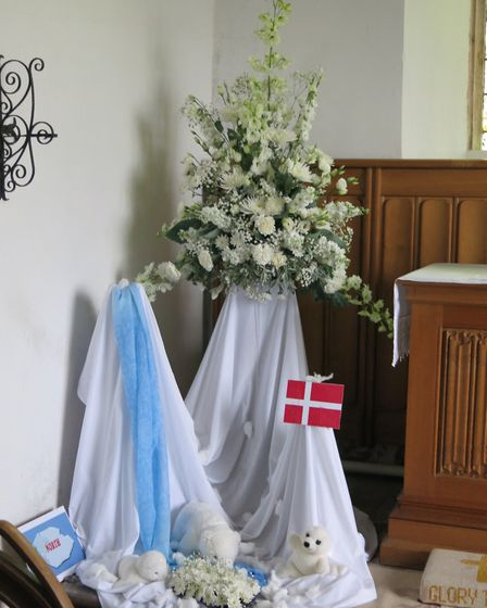 Artic by Gill Tullie, one of the exhibits at a flower festival at Beeston Regis church. Picture: GWE