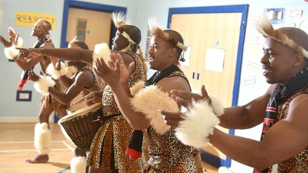 Mighty Zulu Nation, from Africa Alive, performing at Happisburgh Primary School.Picture: ANTONY KELL