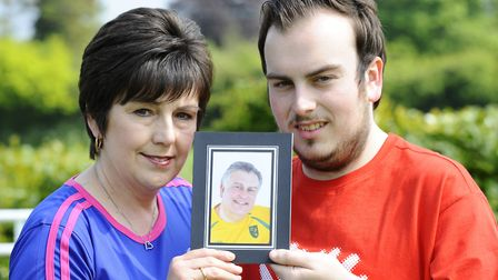Jackie and Nathan Hill who are organising a charity match in memory of Mark Hill who died suddenly a