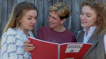 Gretel Brice coaches daughters Megan and Matilda in their roles as Jo and Beth in Little Women. Pict