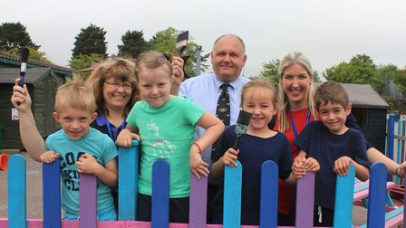 Sheringham Primary pupils (from left): Logan, Bethany, Betty and Thomas in their newly revamped play