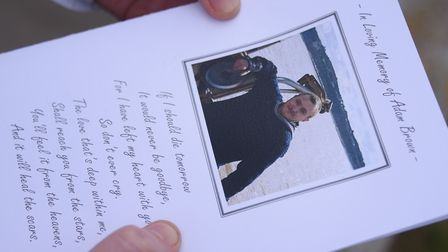 The order of service for 22-year-old Adam Brown's funeral. Picture: DENISE BRADLEY