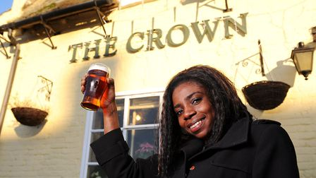 The previous landlady Eunice Kokrasset when she took over at The Crown pub in Smallburgh. Picture: J