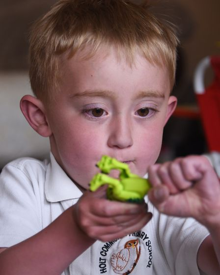 Kaiden Griffin who has a congenital heart defect, plays as he celebrates his fifth birthday, after d