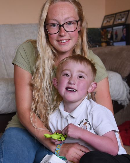 Kaiden Griffin who has a congenital heart defect, with his mum Kyra Welch, on his fifth birthday, af