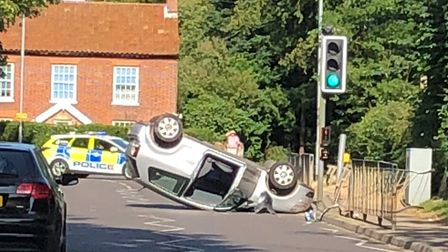 Overturned car in Holt. Picture: Steve Mitchell