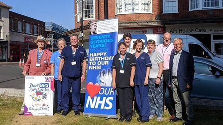 Cromer celebrates 70 years of the NHS. Pictured here are health campaigners, staff and local council