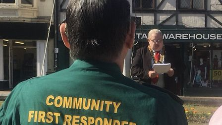 David Pritchard delivers a speech at an NHS70 event in Cromer. Photograph: Martyn Sloman.