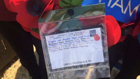 The note on the wreath signed by the school's historical society. Pictures: David Bale