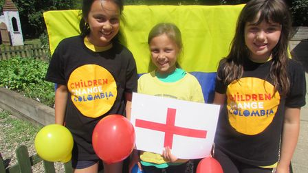 Pupils at Colby school get ready for their own England v Colombia match tomorrow. Pictures: Christin