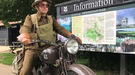 Sheringham Park Living History volunteer Harrison Peckett on his vintage motorcyclePhoto: CLAIRE HAC