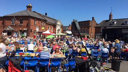 Aylsham's Market Place full for this year's Aylsham Big Lunch. Picture: SUPPLIED BY SUE LAKE