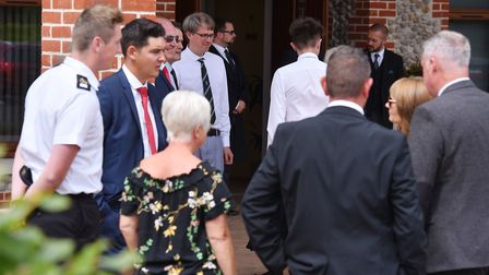 A service of thanksgiving for the lives of Roy and Audrey Haynes at Cromer Crematorium.Picture: Nick
