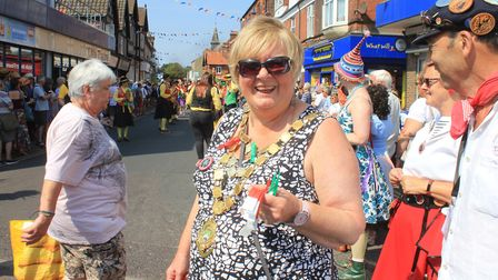 Sheringham mayor Madeleine Ashcroft, who handed out numbered wristbands to dancers taking part in th