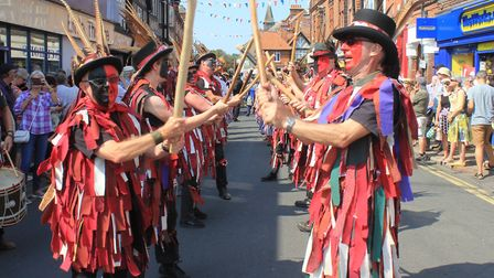 Dancers entertaining crowds in Church Street before taking part in the Guinness World Record attempt