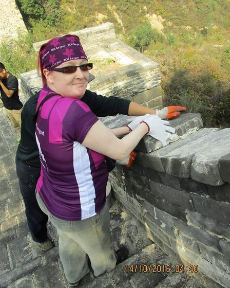 Catherine Hull, helping to rebuild the Great Wall of China. Photo: Catherine Hull