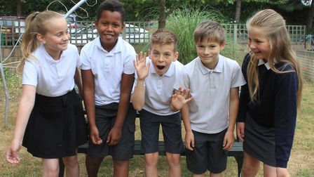 Sheringham Primary School 'Savages' poetry group (from left): Jess, Nelson, Max, Noah and MollyPhoto