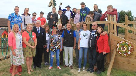Sheringham Woodfields students with town and district council representatives, Sheringham Playpark R