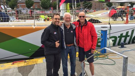 David Greer, right, with Sir Robin Knox-Johnston, centre, the pioneer of the Clipper race, and fell