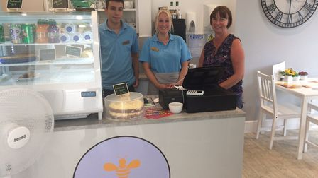 The Honey Pot Cafe in Cromer. L-r, Nathan Durrant, Donna Mack and Nicki Durrant. Pictures: David Bal