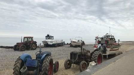 Cromer's traditional fishing boats with their tractors. Photo: Julie Dwyer