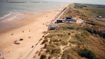 An aerial view of Sea Palling taken from a camera attached to a kite. Photo: Trevor Deary