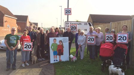 Campaigners for a 20mph speed limit in Aylsham Road, North Walsham. Picture: David Bale