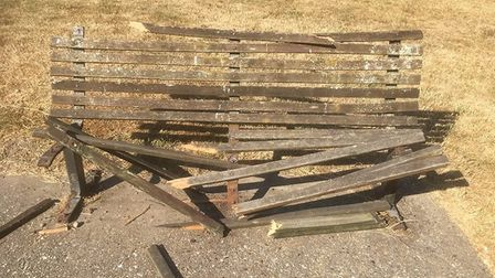 Vandalism to bench in North Walsham. Picture: Teresa Hughes