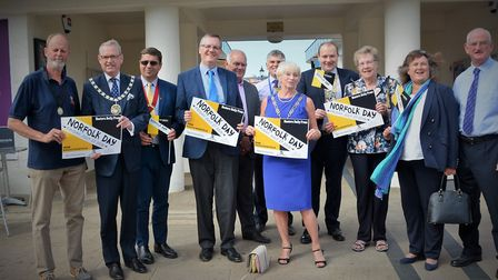 Mayors visit Cromer pier to promote Norfolk Day. Pictures: Dave 'Hubba' Roberts