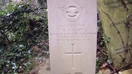 Flight Sergeant Robert Gapp's grave. Picture: supplied by David Steward