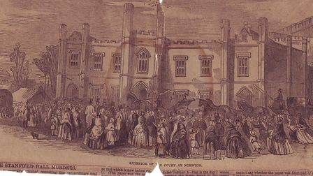 Stanfield Hall murder 1848. Pictured: The crowd outside the court at Norwich Castle. Picture: EDP Li