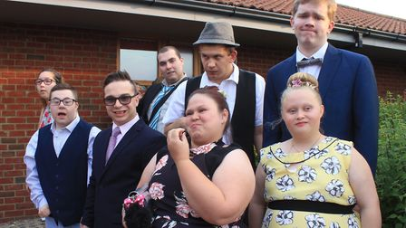 Sheringham Woodfields students line up for a photo at their school promPhoto: KAREN BETHELL