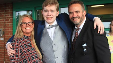 Janelle and Nigel Sanders, of Syderstone, near Fakenham, join son, Jackson, 19, for his school prom.