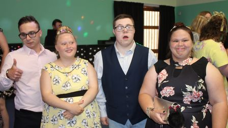 Friends Thomas, Laura, William and Michelle on the dance floor at Woodfields' promPhoto: KAREN BETHE