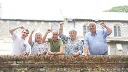 Baconsthorpe Church has recieved a 95,000 lottery grant. Pictured are (from left) John Shelly, Corin