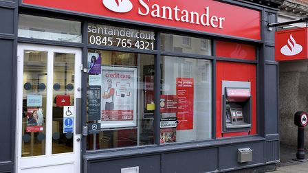 North Walsham's Santander branch is temporarily closing for refurbishment. Photo by Mark Bullimore
