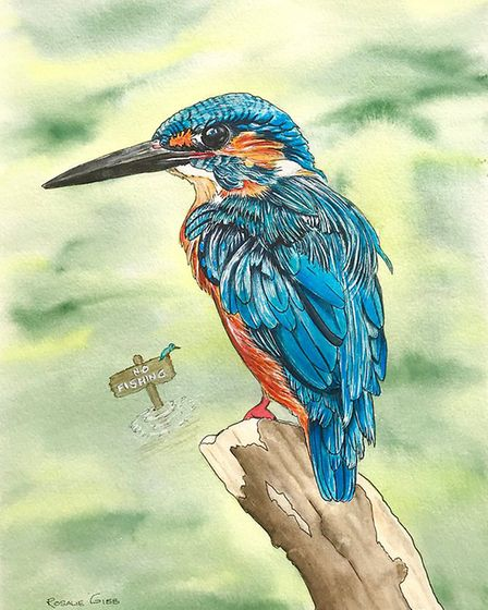 A kingfisher painted by Rosalie Osbourne Gibb. Photo: supplied by Rosalie Osbourne Gibb