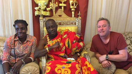 Eunice Kokrasset and Jon Smith meeting the king in the Ivory Coast. Pictures: Jon Smith