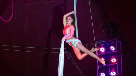 Tillly Packham shows her remarkable skill on silks. Photo: MIKE KWASNIAK