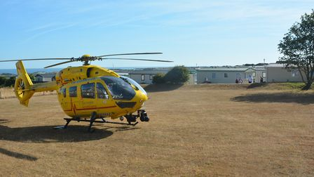 Air ambulance at Seacroft caravan site in Cromer. Pictures: Dave 'Hubba' Roberts