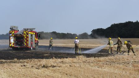 Firefighters were called to the scene of a blaze at a former airfield in Matlaske, north Norfolk. Pi