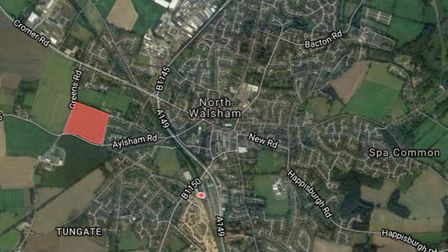 The proposed site for 200 homes in North Walsham. Photo: Google