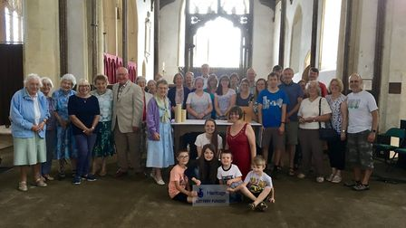 Parishoners at Cawston Parish Church celebrating the National Lottery grant. Picture: SUPPLIED BY RE