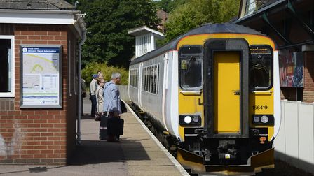 A Greater Anglia Train travelling the Bittern Line into Cromer station. Picture: MARK BULLIMORE