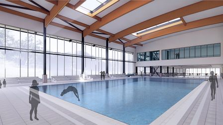 An artist's impression of the interior of the proposed Sheringham Leisure Centre. Image: NNDC