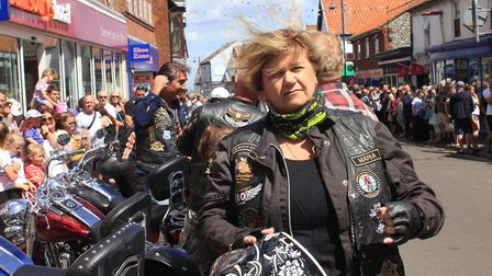 Harley Davidson owners line their bikes up in Sheringham high street.Photo: KAREN BETHELL
