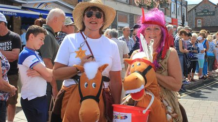 Sheringham Carnival bucket collectors on duty at the Harley Davidson invasion.Photo: KAREN BETHELL