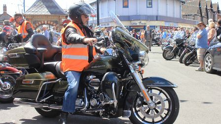 Harley Davidson motorcycles line up in Sheringham high street.Photo: KAREN BETHELL